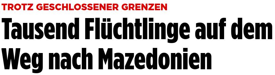 """""""TROTZ GESCHLOSSENER GRENZEN Tausend Flüchtlinge auf dem Weg nach Mazedonien"""""""
