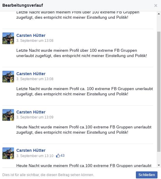 Bearbeitungsverlauf von Hütters Eintrag (Faksimile).